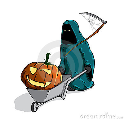 death with the spooky pumpking in a wheelbarrow