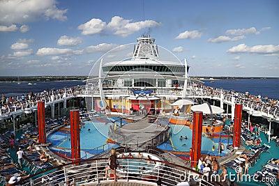 Debarking cruise ship Editorial Stock Photo