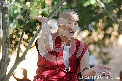 Debating monk in Tibet Editorial Photography