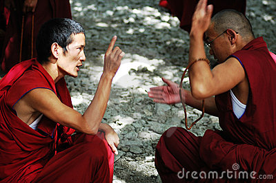 Debating monks in Tibet Editorial Image