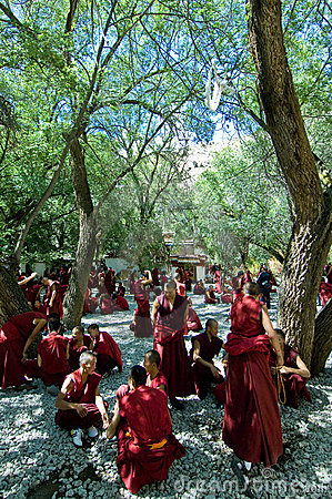 Debattera monks Redaktionell Arkivfoto