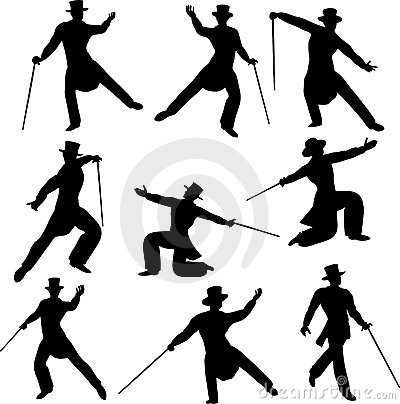 Free Debonair Dancer Silhouettes Royalty Free Stock Photography - 10164827