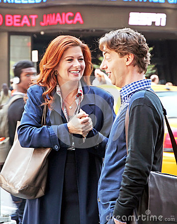 Debra Messing and Christian Borle Editorial Image