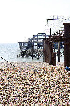 Debris of the old west pier in Brighton