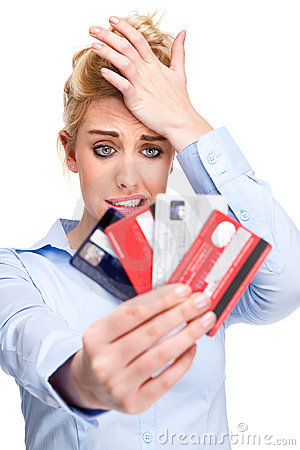 Free Debt Problems Stressed Woman Holding Credit Cards Royalty Free Stock Photo - 18189705