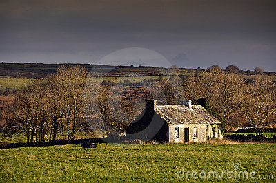 Decay cottage in rural ireland countryside