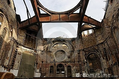 Decay of a Religious building ruin after a fire