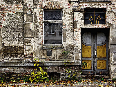 Decayed front door and window