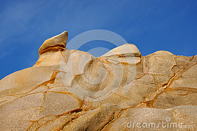 Decayed granite rock in featured shape and color
