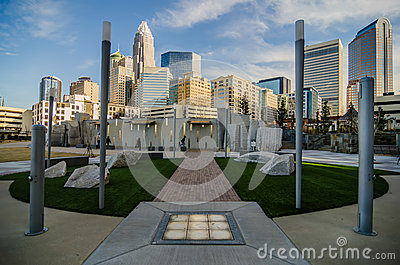 December 27, 2013, charlotte, nc - view of charlotte skyline at Editorial Stock Image