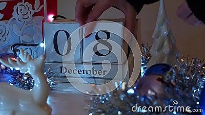 8 December-Datumblokken Advent Calendar stock footage
