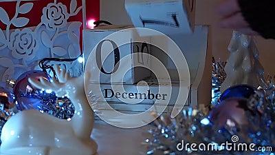 9 December-de komstkalender van datumblokken stock video