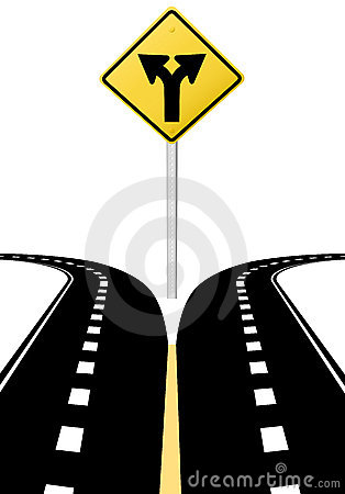 Decision choice future direction arrows road sign