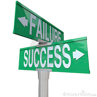 Decision Turning Point Success vs Failure Sign