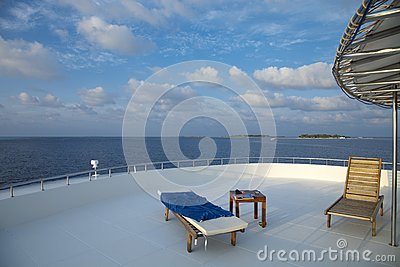 Deck chair on cruising ship