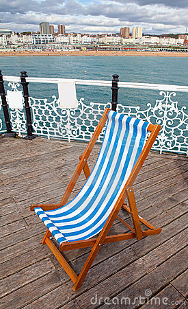Deck chair pier sea coastline