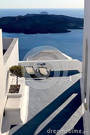 Deck Chairs above island scene
