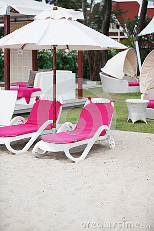 Deck chairs - copy space.