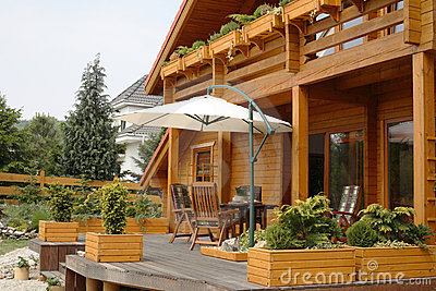 Deck on country house