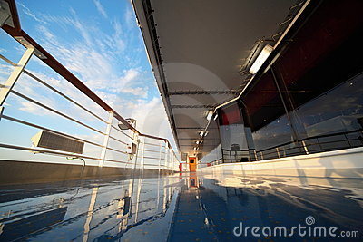 Deck of cruise ship in morning
