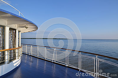 Deck on river cruise boat on Volga river