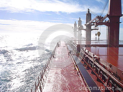 Deck of a ship in a storm Editorial Image