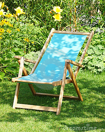 Deckchair in garden