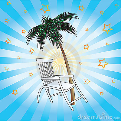 Deckchair and palm.