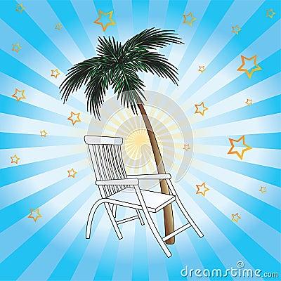 Deckchair and palm.