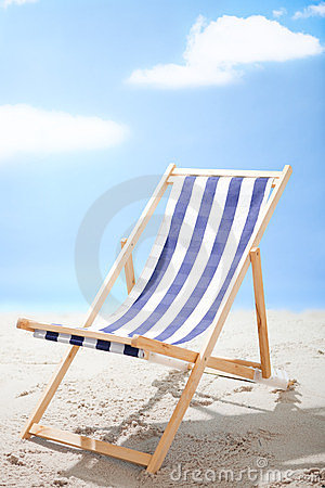 Deckchair standing at the sunny beach