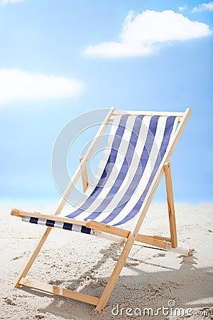 Deckchair standing at the sunny beach