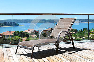 Deckchair on a terrace overlooking Adriatic sea