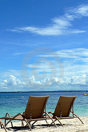 Deckchairs on Beach, Cebu, Philippines