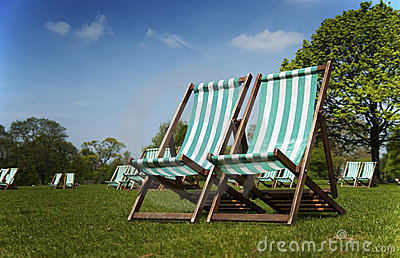 Deckchairs in Hyde Park, London