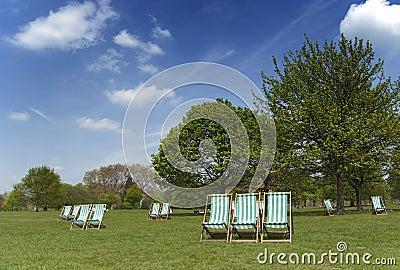 Deckchairs in Hyde Park, London