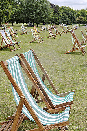 Deckchairs in Hyde Park. London. England