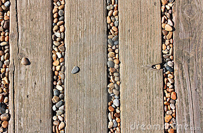 Decking and pebbles