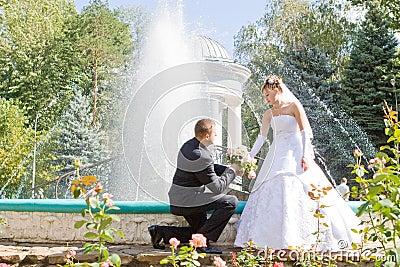 Declaración del amor en parque