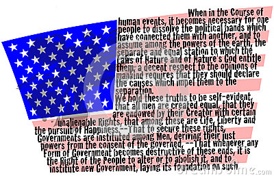 Declaration of Independence on American flag