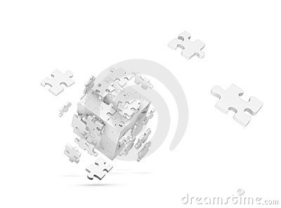 Decomposed cube of puzzle
