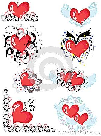 Decor with hearts, CMYK