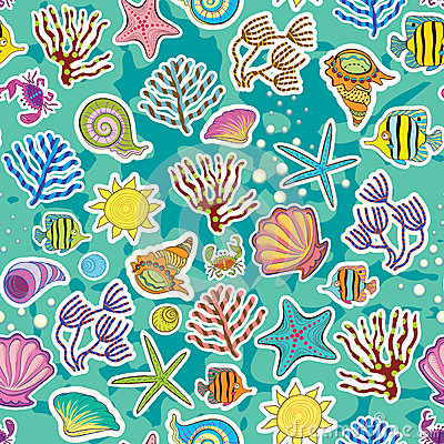 Decor of the sea creatures and seaweed