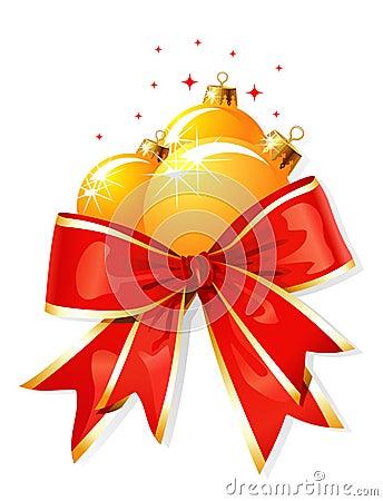 Decoração do Natal/curva e esferas/vetor
