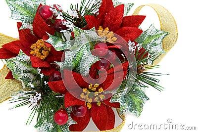 Decoração do Natal do Poinsettia com fita do ouro