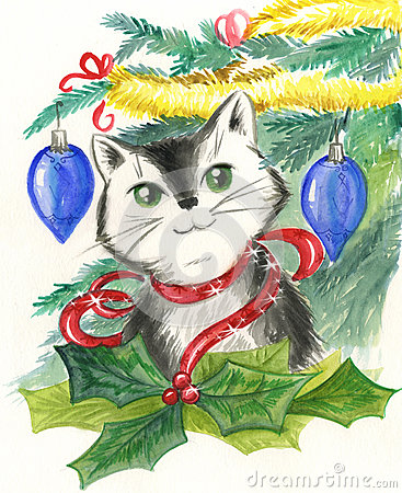 Decorações do gato e do Natal