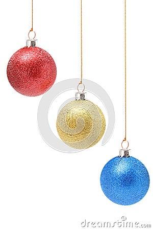 Decorações do Natal da cor amarela e azul vermelha