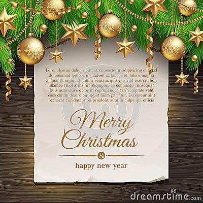 Decoración de la Navidad y bandera del papel
