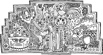 Decoración blanco y negro del maya