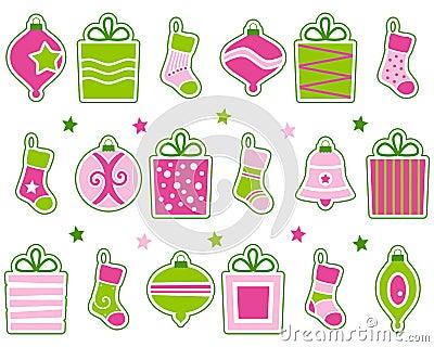 Decoraciones retras de la Navidad fijadas