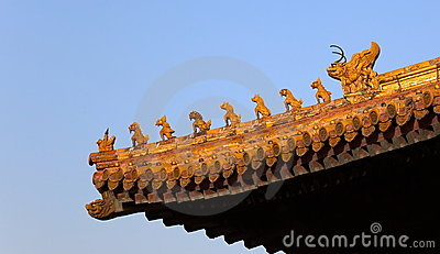 Decorações do telhado. Cidade proibida. Beijing. China